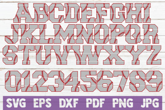 Download Free Baseball Alphabet And Numbers Svg Graphic By Mintymarshmallows for Cricut Explore, Silhouette and other cutting machines.
