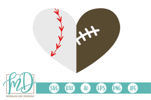 Download Free Baseball Football Heart Svg Graphic By Morgan Day Designs for Cricut Explore, Silhouette and other cutting machines.
