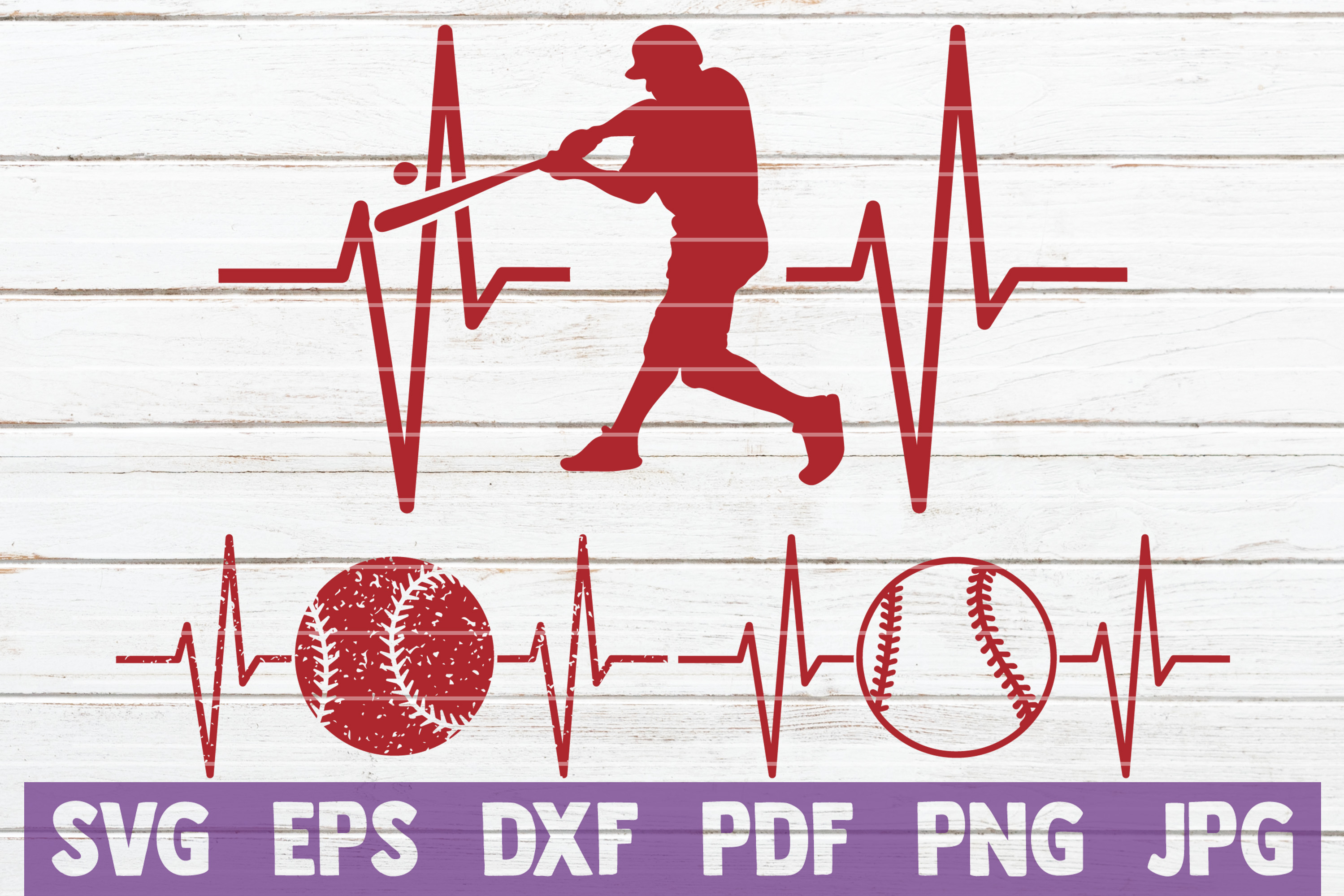 Download Free Baseball Heartbeat Cut Files Graphic By Mintymarshmallows for Cricut Explore, Silhouette and other cutting machines.