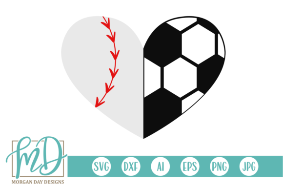 Download Free Baseball Soccer Heart Svg Graphic By Morgan Day Designs for Cricut Explore, Silhouette and other cutting machines.