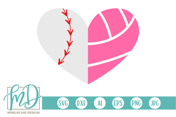 Print on Demand: Baseball Volleyball Heart SVG Graphic Crafts By Morgan Day Designs