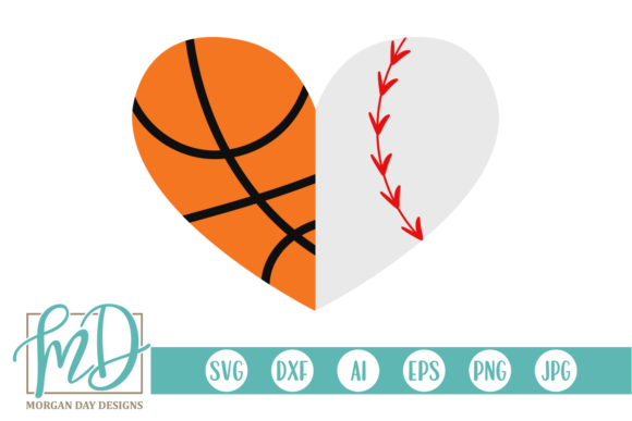 Download Free Basketball Baseball Heart Svg Graphic By Morgan Day Designs for Cricut Explore, Silhouette and other cutting machines.