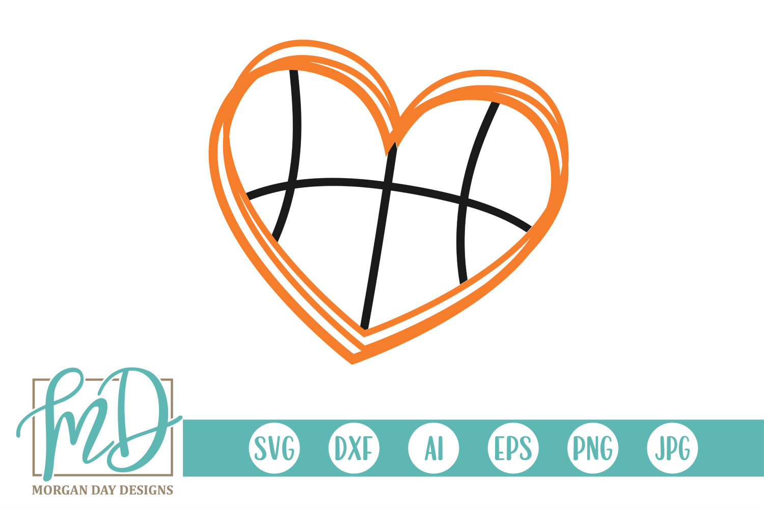 Download Free Basketball Heart Graphic By Morgan Day Designs Creative Fabrica for Cricut Explore, Silhouette and other cutting machines.
