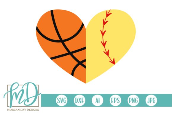 Download Free Basketball Softball Heart Svg Graphic By Morgan Day Designs for Cricut Explore, Silhouette and other cutting machines.