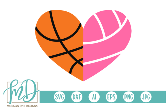 Download Free Basketball Volleyball Heart Svg Graphic By Morgan Day Designs for Cricut Explore, Silhouette and other cutting machines.