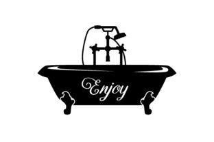 Bathtub Silhouette with the Word Enjoy on It Craft Design By Creative Fabrica Crafts
