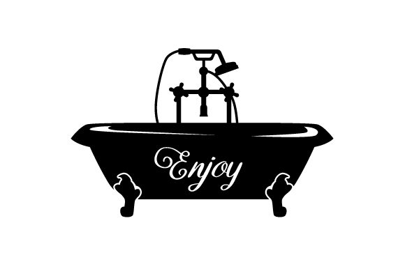 Bathtub Silhouette with the Word Enjoy on It Bathroom Craft Cut File By Creative Fabrica Crafts