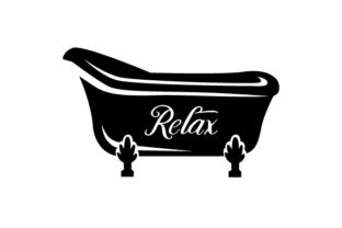 Bathtub Silhouette with the Word Relax on It Craft Design By Creative Fabrica Crafts