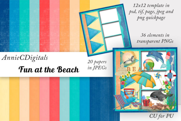Beach Day Scrap Kit, Papers and Clip Art Graphic Illustrations By AnnieCDigitals