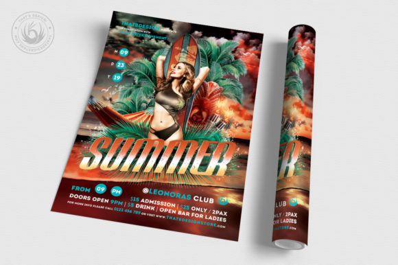 Download Free Beach Party Flyer Template V2 Graphic By Thatsdesignstore for Cricut Explore, Silhouette and other cutting machines.