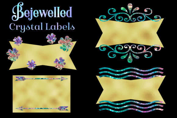 Print on Demand: Bejewelled Crystal Labels Clipart Graphic Objects By SapphireXDesigns - Image 1