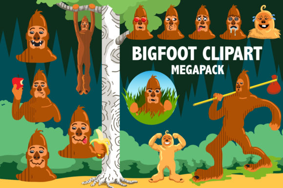 Bigfoot Clipart Megapack Graphic Illustrations By Mine Eyes Design