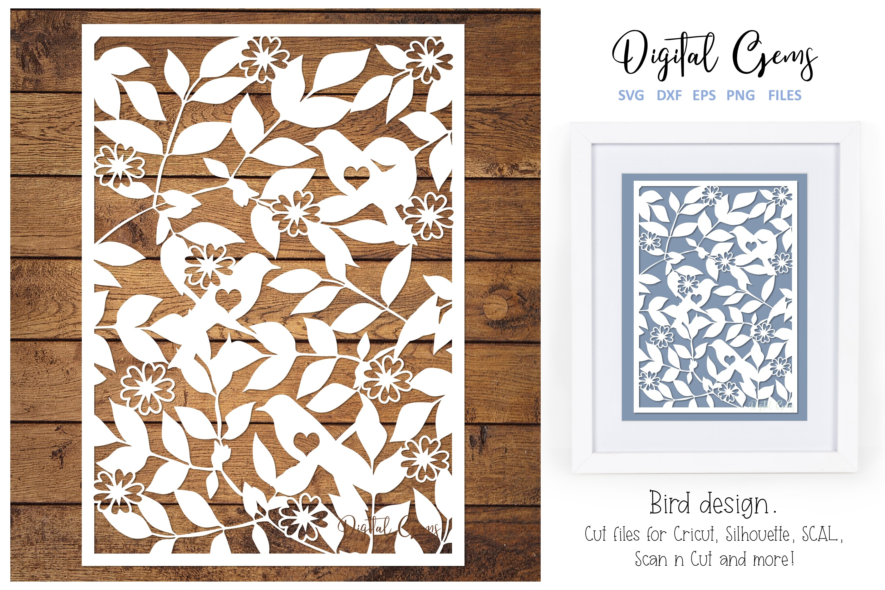 Download Free Bird Papercut Design Graphic By Digital Gems Creative Fabrica for Cricut Explore, Silhouette and other cutting machines.