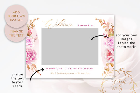 Download Free Birth Announcement Card Template 9 Graphic By Daphnepopuliers for Cricut Explore, Silhouette and other cutting machines.
