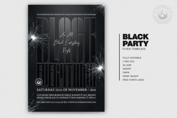 Black Party Flyer Template V5 Graphic By ThatsDesignStore Image 2