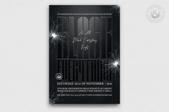 Black Party Flyer Template V5 Graphic By ThatsDesignStore Image 1