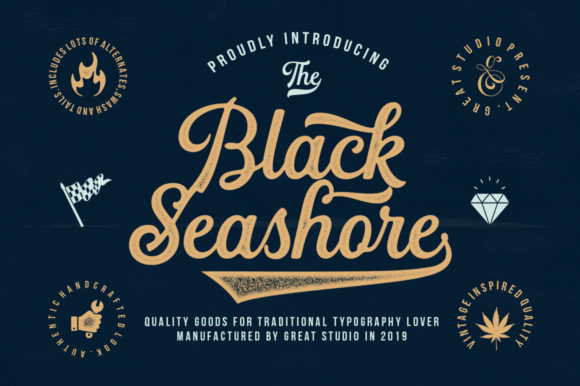 Download Free Black Seashore Font By Great Studio Creative Fabrica for Cricut Explore, Silhouette and other cutting machines.