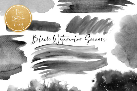 Print on Demand: Black Watercolor Smear Clipart Set Gráfico Crafts Por daphnepopuliers