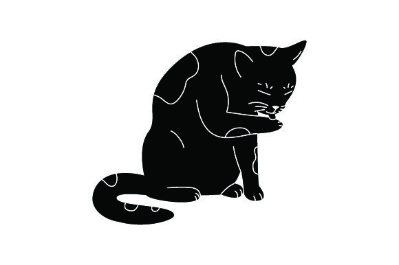 Black Cat Licking Itself Cats Craft Cut File By Creative Fabrica Crafts