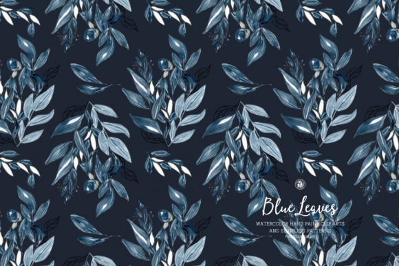 Blue Leaves Graphic By webvilla Image 2