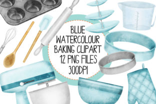 Blue Watercolour Baking Clip Art Set 1 Graphic By The_Laughing_Sloth_Digital