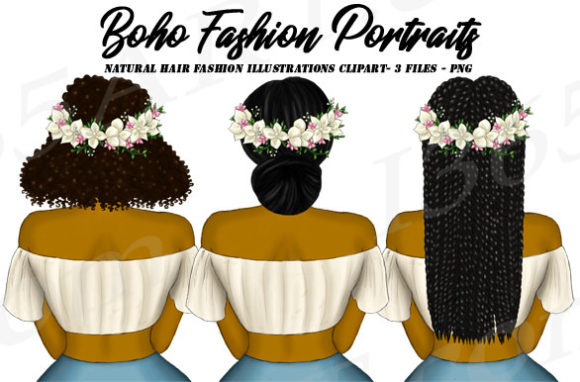 Boho Fashion Black Girl Clipart Set  Graphic Illustrations By Deanna McRae