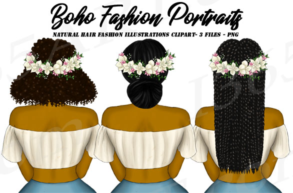 Boho Fashion Black Girl Clipart Set PNG Graphic by Deanna ...