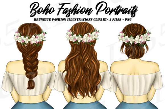 Boho Fashion Brunette Girl Clipart PNG Graphic Illustrations By Deanna McRae