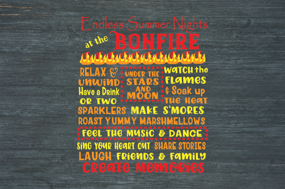 Download Free Bonfire Sign Campfire Sign Fire Pit Graphic By Kayla Griffin for Cricut Explore, Silhouette and other cutting machines.
