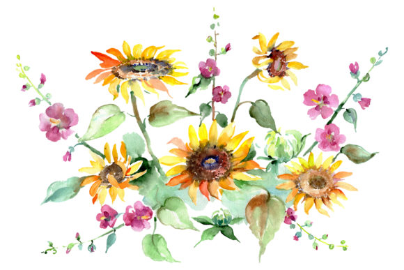 Download Free Bouquet Of Sunflowers Watercolor Graphic By Mystocks Creative for Cricut Explore, Silhouette and other cutting machines.