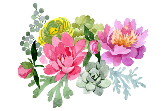 Download Free Bouquet With Pink Peonies Graphic By Mystocks Creative Fabrica for Cricut Explore, Silhouette and other cutting machines.
