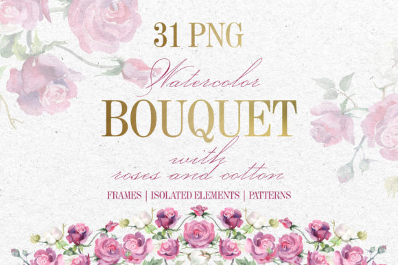 Print on Demand: Bouquet with Roses and Cotton Watercolor Graphic Illustrations By MyStocks
