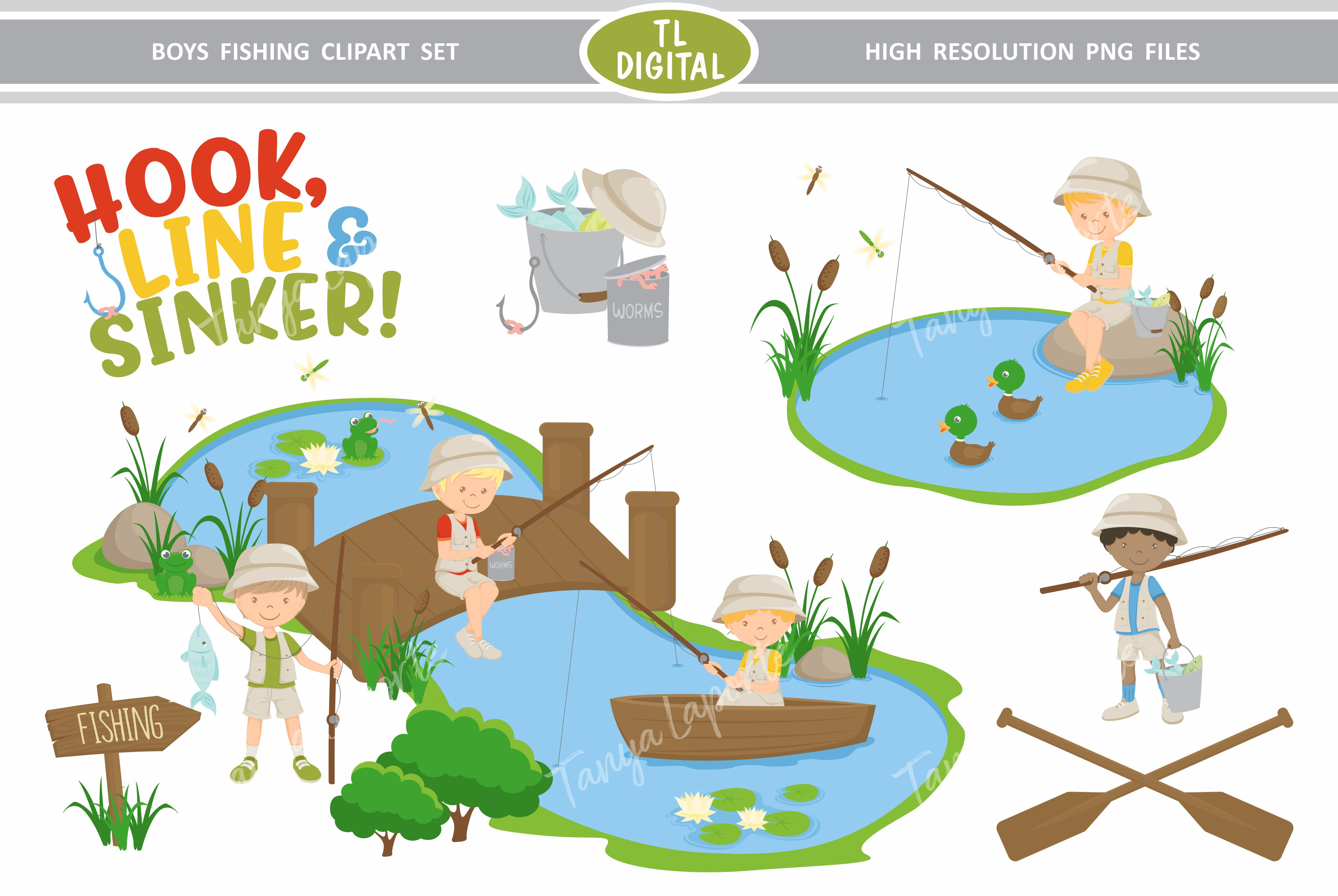 Download Free Boys Fishing Clipart Set Graphic By Tl Digital Creative Fabrica for Cricut Explore, Silhouette and other cutting machines.