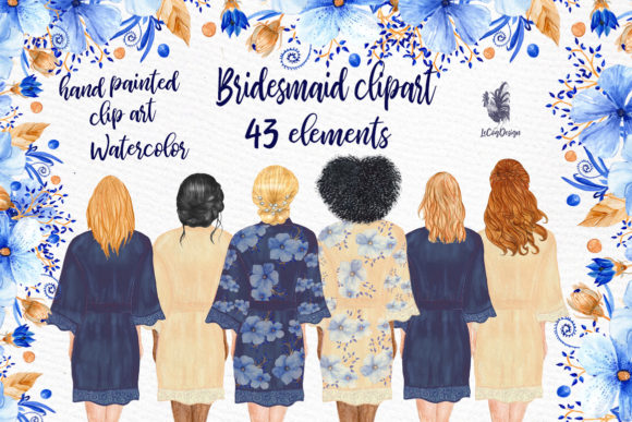 Bridesmaid Clip Art Watercolor Robes Graphic Illustrations By LeCoqDesign - Image 1