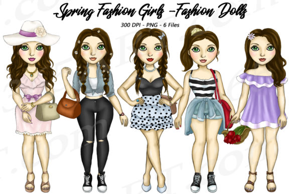 Brunette Spring Fashion Girls Clipart Graphic Illustrations By Deanna McRae - Image 1