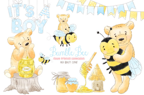 Bumble Bee Boy Honey Watercolor Clipart Graphic Illustrations By kabankova