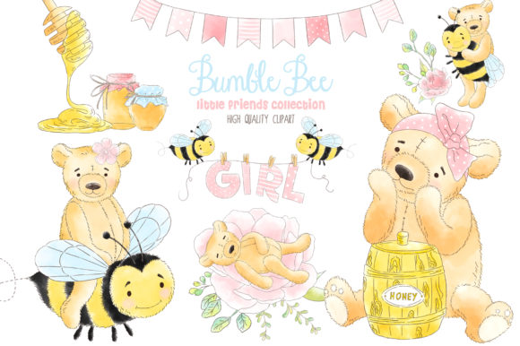 Bumble Bee and Honey Watercolor Clipart Graphic Illustrations By kabankova