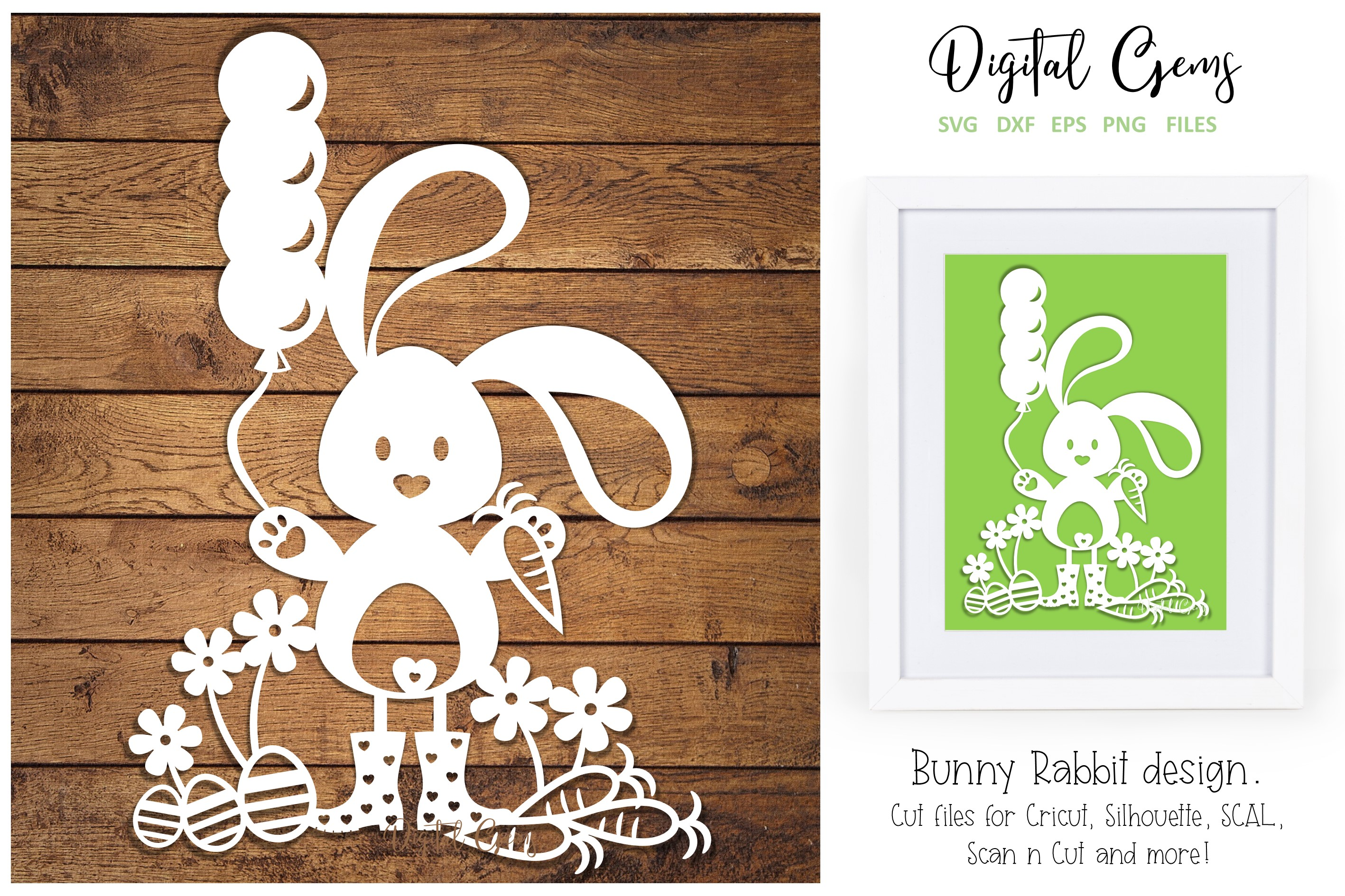 Download Free Bunny Rabbit Paper Cut Design Graphic By Digital Gems Creative for Cricut Explore, Silhouette and other cutting machines.