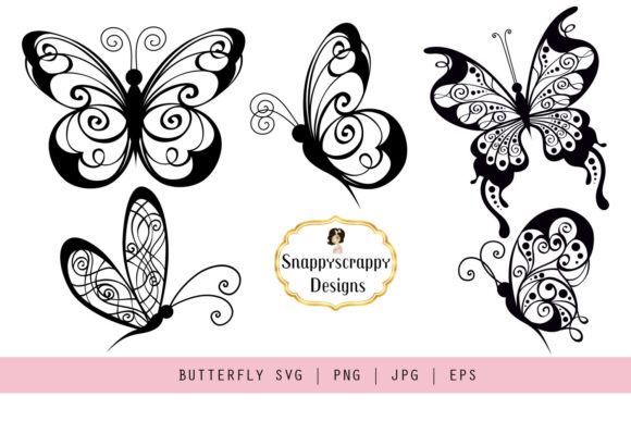 Butterflies Graphic Illustrations By Snappyscrappy