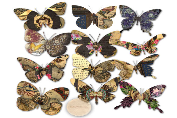 Print on Demand: Butterfly Clipart Graphic Illustrations By retrowalldecor
