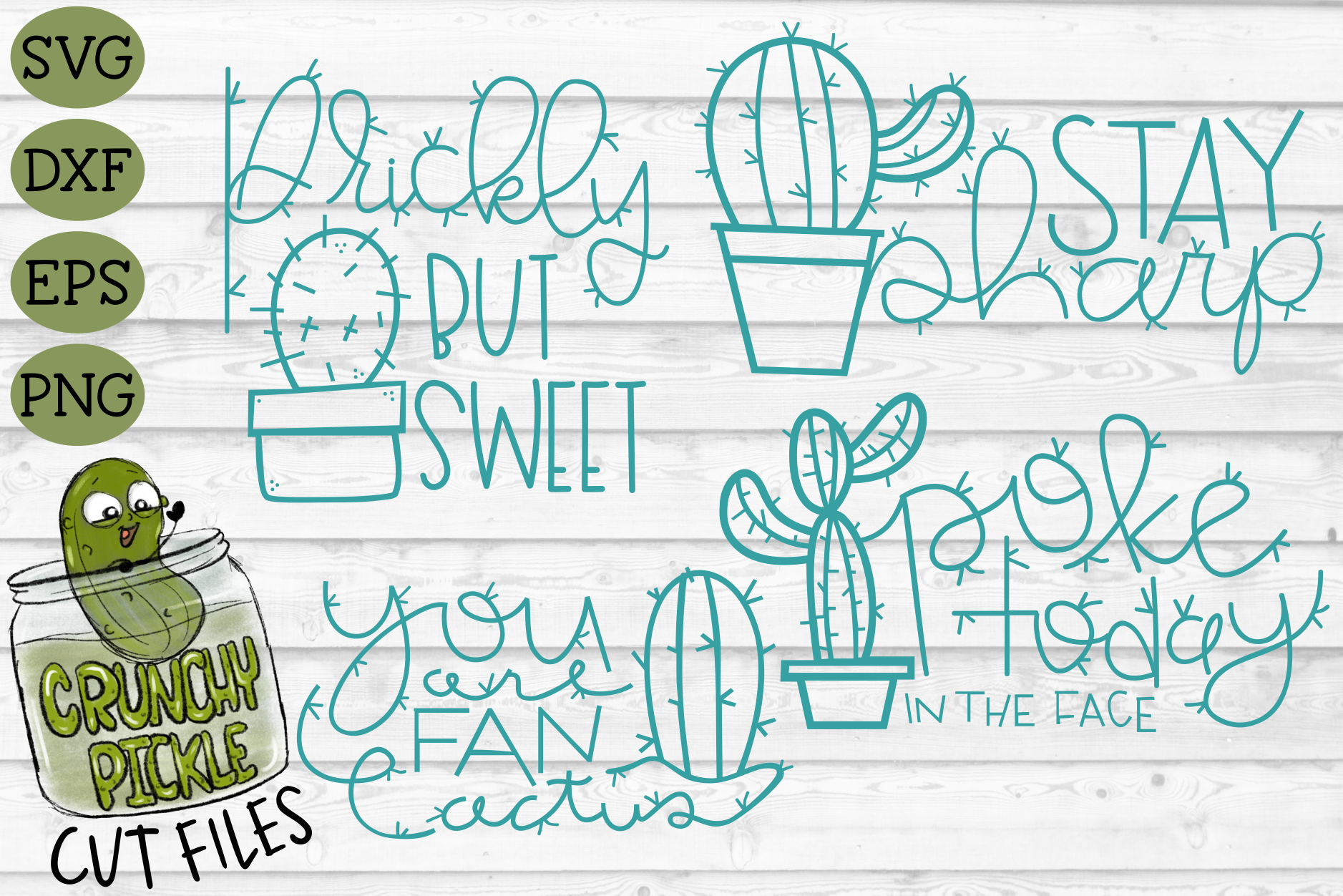Download Free Cactus Puns File Bundle Graphic By Crunchy Pickle Creative Fabrica for Cricut Explore, Silhouette and other cutting machines.