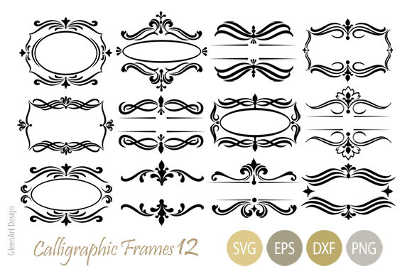 Download Free Calligraphic Decorative Frame Set Grafico Por Gleenart Graphic for Cricut Explore, Silhouette and other cutting machines.