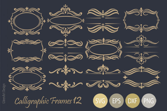 Calligraphic Decorative Frame Set Graphic Illustrations By Gleenart Graphic Design