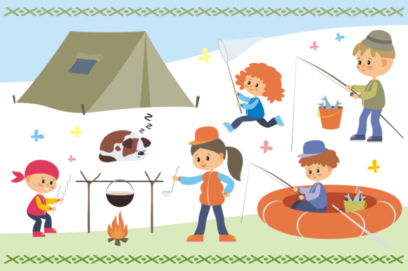 Print on Demand: Camping Life. Vector Cliparts. Graphic Illustrations By Olga Belova - Image 2