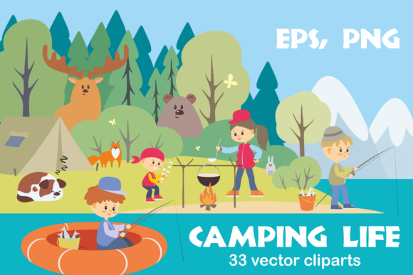 Print on Demand: Camping Life. Vector Cliparts. Graphic Illustrations By Olga Belova