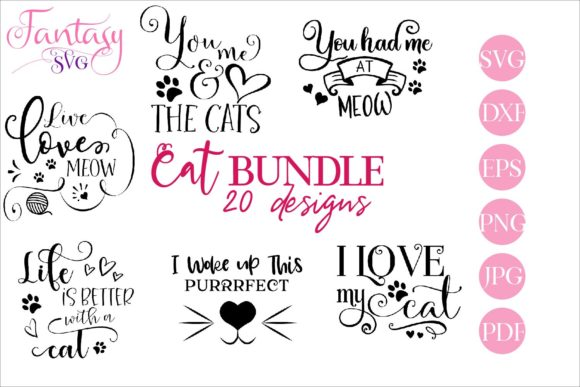 Print on Demand: Cat Bundle Svg Cut Files Graphic Crafts By Fantasy SVG