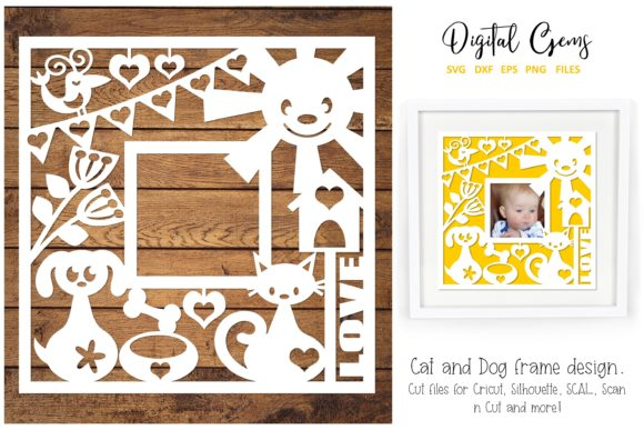 Cat and Dog Paper Cut Design Graphic Crafts By Digital Gems - Image 1