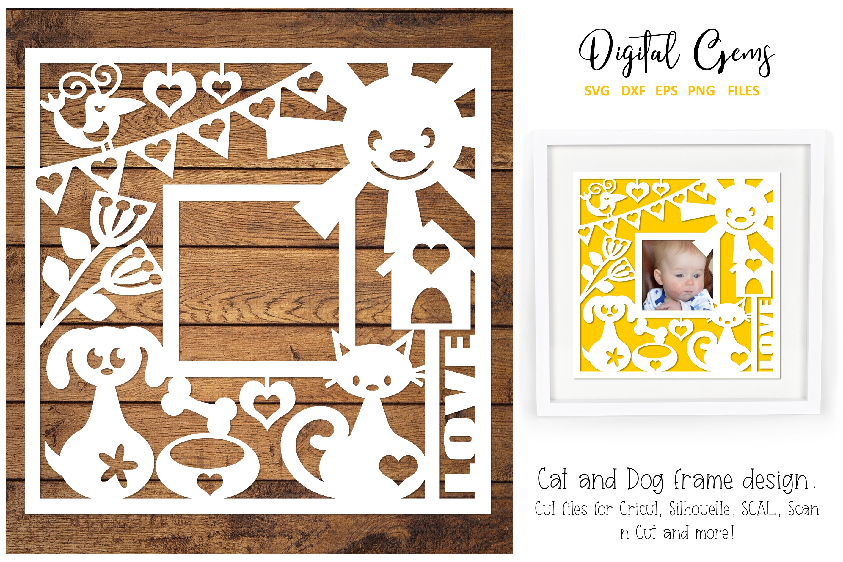 Download Free Cat And Dog Paper Cut Design Graphic By Digital Gems Creative for Cricut Explore, Silhouette and other cutting machines.