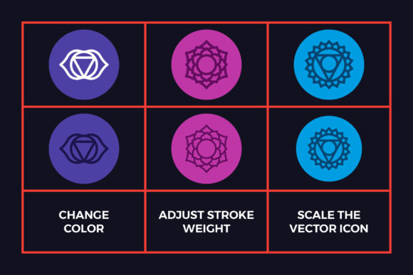 Chakra Symbols Set Spiritual Vector Graphic Icons By abstractocreate - Image 2