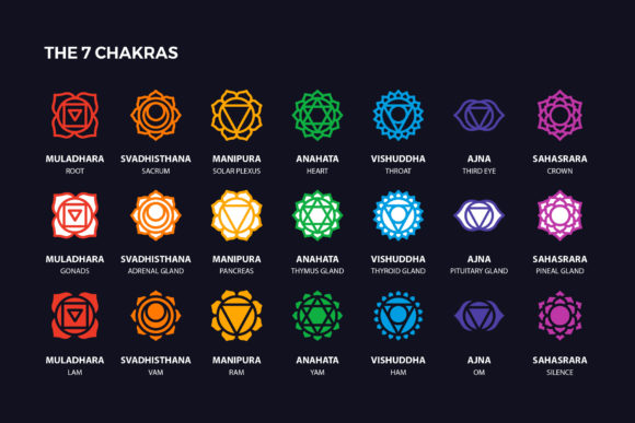 Chakra Symbols Set Spiritual Vector Graphic Icons By abstractocreate - Image 4